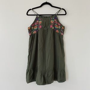 Place Fully lined bohemian Embroidered casual medium weight mini dress
